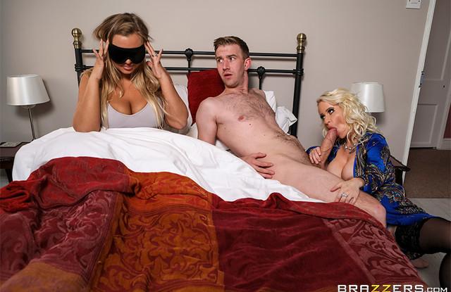Brazzers - Сисястая мать заставляет сына изменить невесте с ней на кровати