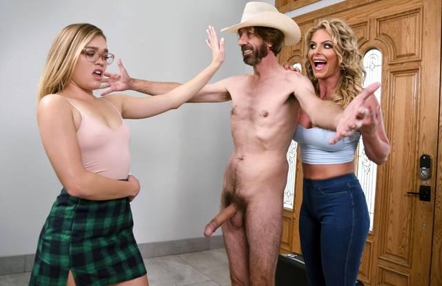 Brazzers - Две блондинки анально развлекаются с волосатым ковбоем